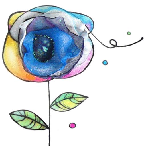 motivo floral en acuarela y tecnica mixta con tela.