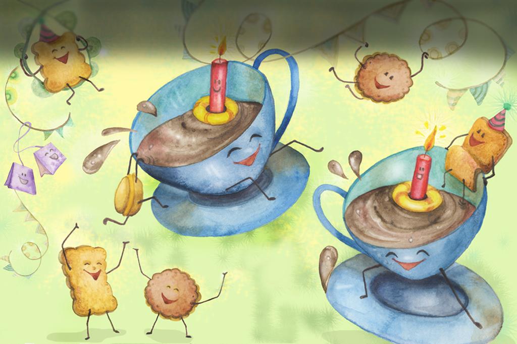 ilustración caricatura de alimentos, merienda de fiesta de cumpleaños