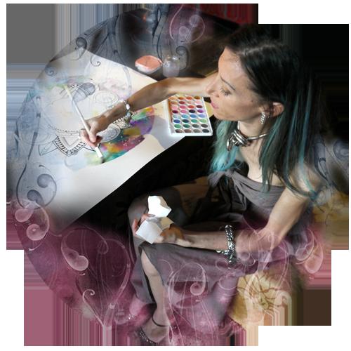 Mandala creativo intuitivo colorato en acuarela y tecnica mixta. Exhibición del vivo performance artística.