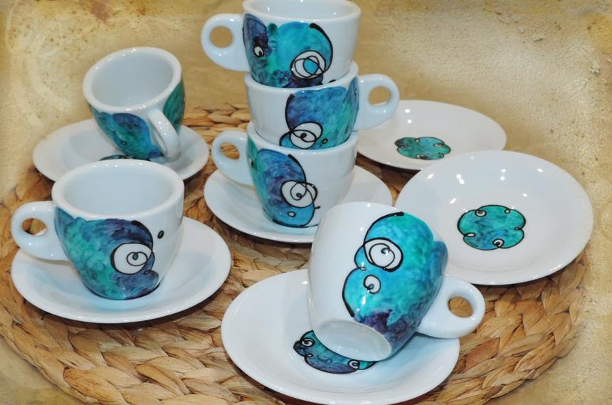 Servizio da caffè in ceramica dipinta a mano da 12 pezzi
