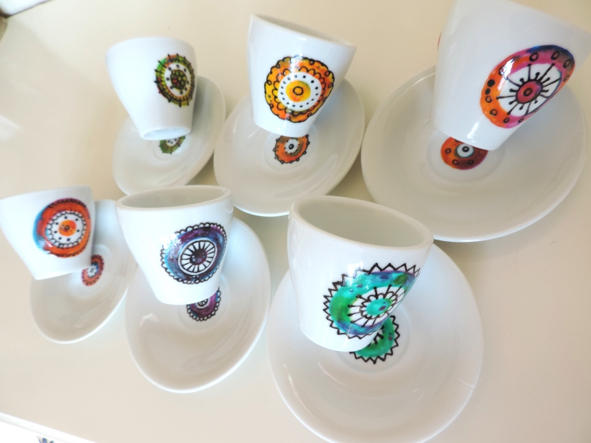Ceramic handpainted set of six coffe cups with plates. Mandala hand made painted by hand by Luciana Torre ART. Unique pieces. Dishwater safe.