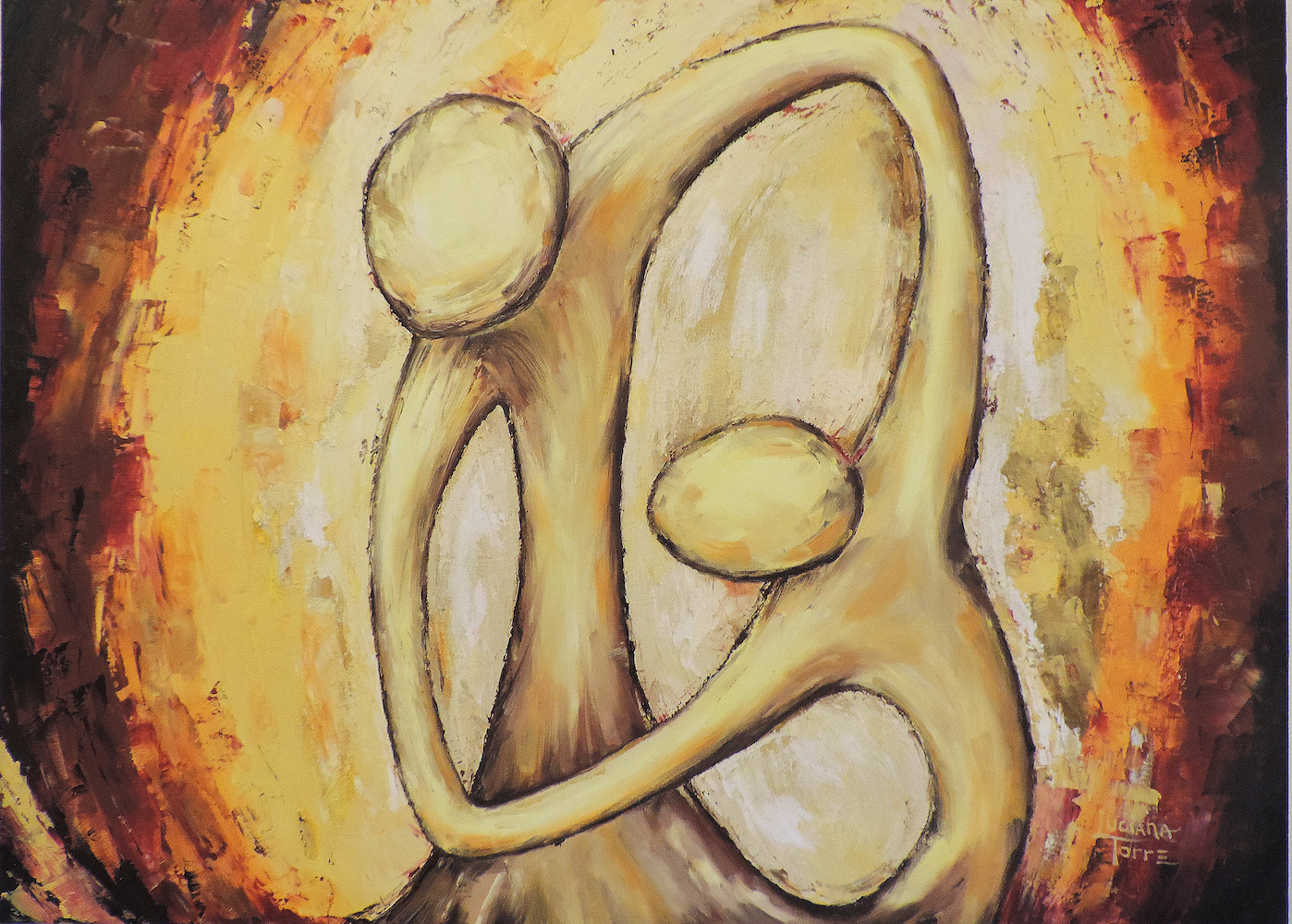 Pintura a oleo del tango argentino de la artista Luciana Torre. Cuadro de la serie 'Danza ligera en el viento'. Creación unica de 50 x 70 cm. €110,00 Decora tu casa con piezas de arte accesibles y modernas. He plasmado los gestos cómplices característicos del tango argentino, privilegiando el profundo sentido de reciprocidad que une los bailarines de arrabal. La figuras estilizadas, las lineas curvas y cargadas de textura, la elección de colores cálidos y vivaces, resaltan la sinergia acompasada de la danza tanguera. Encuentras la serie completa su https://lucianatorre.com/shop/mandala-tango/