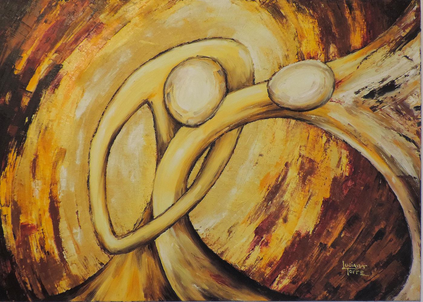 Pittura sul tango argentino dell'artista Luciana Torre. Quadro della serie 'Danza leggera nel vento'. Olio su tela. Opera unica. Provisto d'attaccatura pronto da appendere. Misure 50 x 70 cm. €110,00 Ho voluto raffigurare i gesti complici caratteristici del tango argentino, privilegiando il profondo senso di reciprocità che lega i ballerini di arrabal. La stilizzazione delle figure, le linee curve e cariche di texture, la scelta di colori caldi e vivaci, risaltano la sinergia acompassata della danza tanghera. Trovi la serie completa su https://lucianatorre.com/shop/mandala-tango/