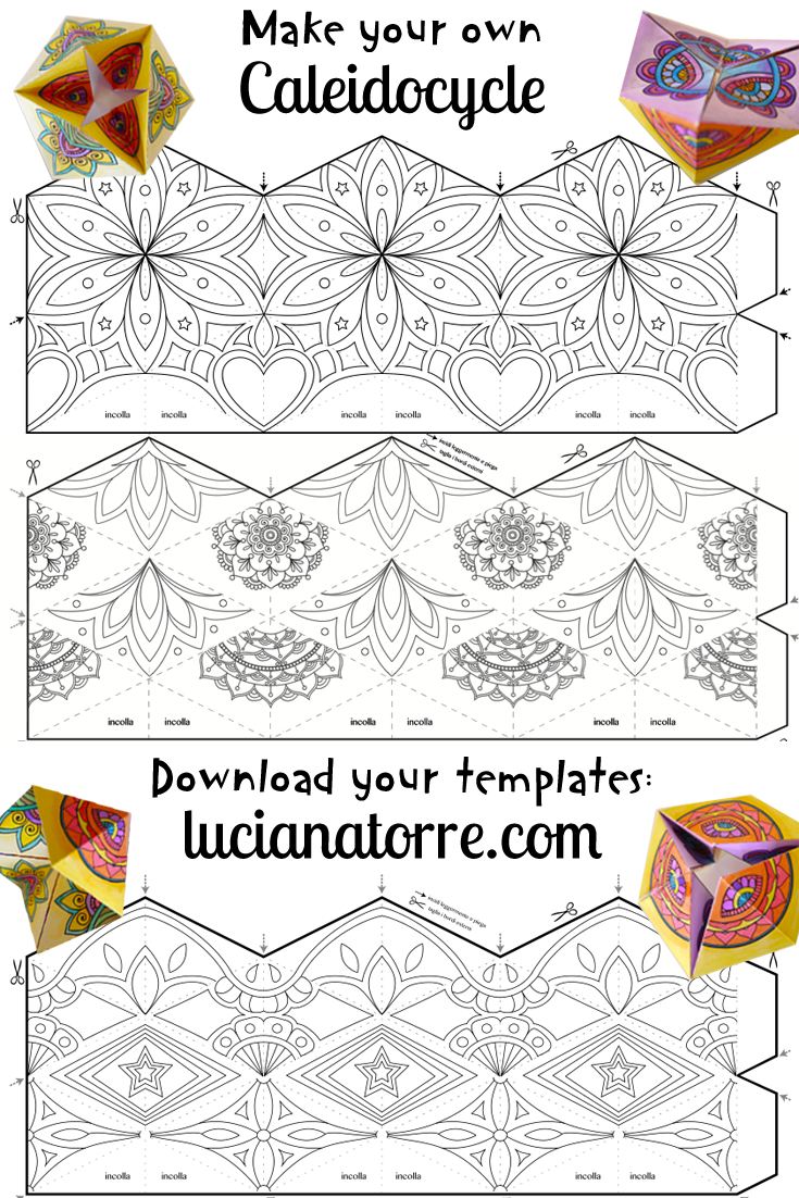 Descarga tus plantillas de caleidociclo y crea tu propio diseño. Tutorial con dettagliate istruzione paso a paso. Kaleidocycle DIY template. Download: https://lucianatorre.com/shop/caleidociclo/ #caleidociclo #kaleidocycle #flextangle #zentangletutorial