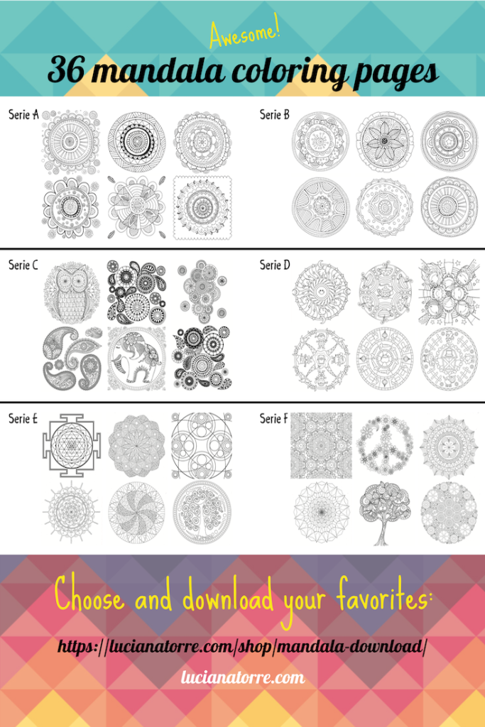 mandala coloring books by Luciana Torre. Download 36 mandala coloring pages for relax and mindfulness. Mandala drawings for adults and children.