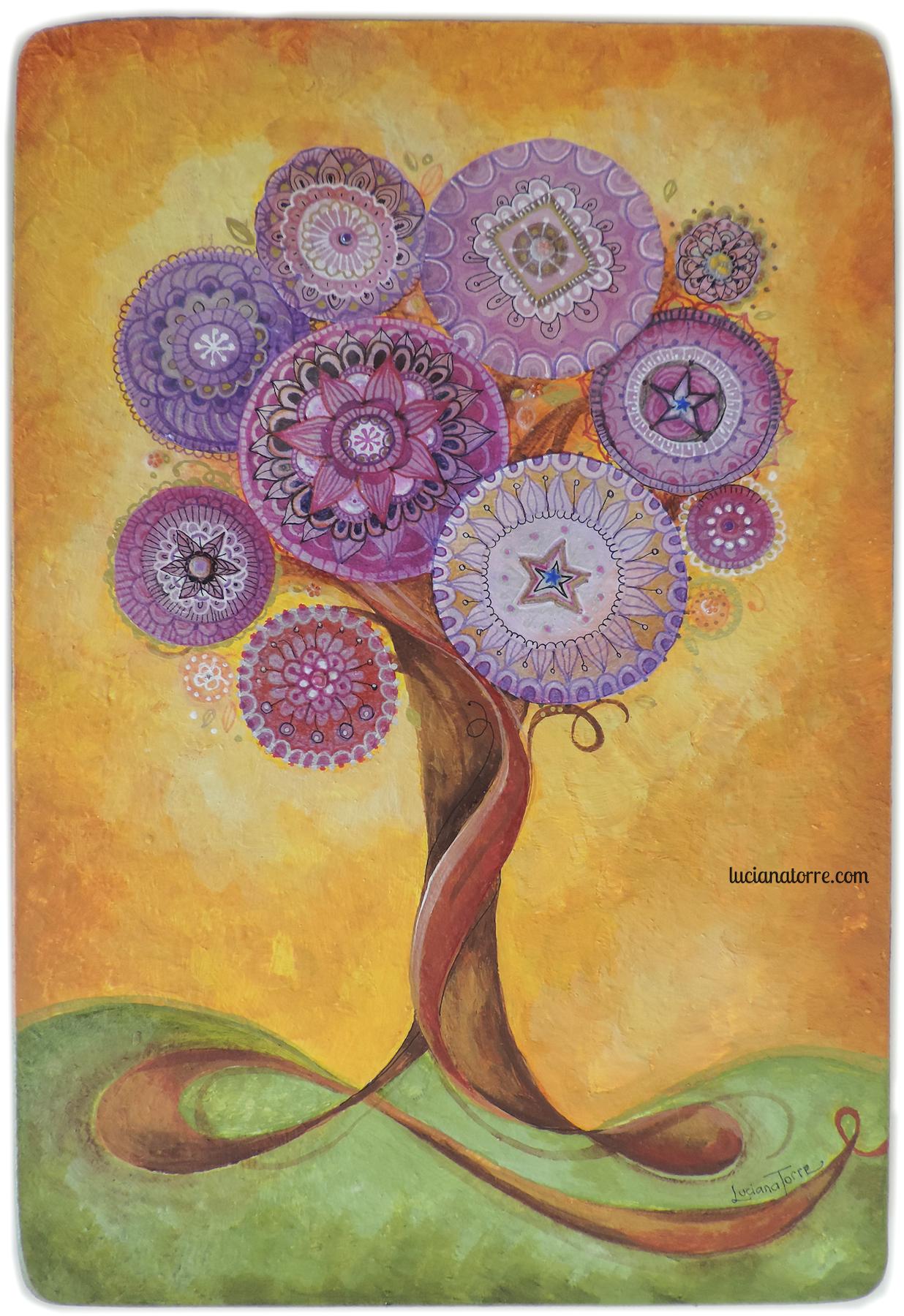 Arbol de la Vida con Mandalas de la artista Luciana Torre. Creación unica y original en acrilico sobre madera, también personalizable por encargo. Regalo de boda original, arte bohemien para el hogar, regalo especial y exclusivo. Mas creaciones en lucianatorre.com #lucianatorre #artlicensing #artforproducts #artprint #bohodecor #arboldelavida #regalodeboda #arboldelavidapintura #mandala #illustratorsforhire