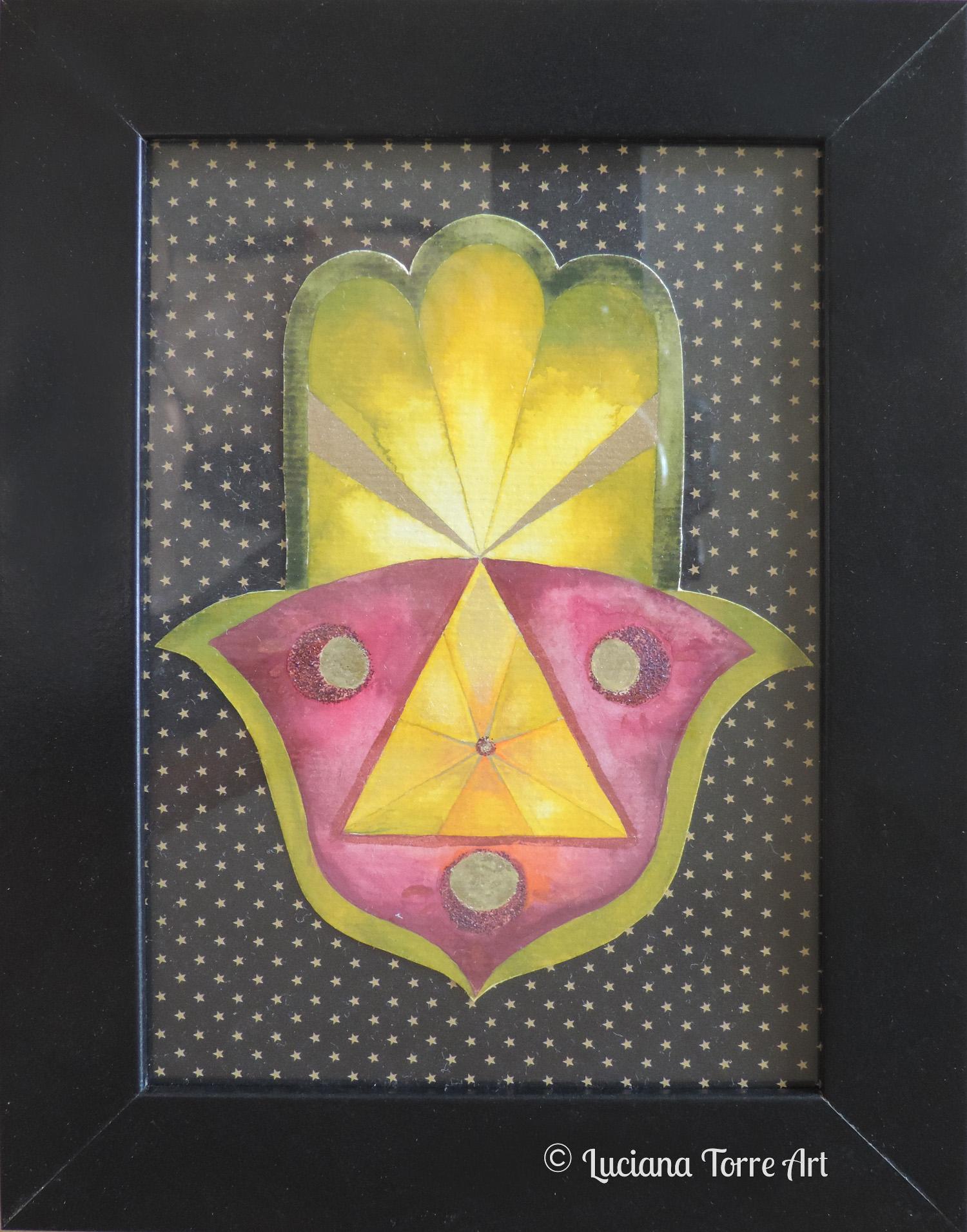 Mano di Fatima con luna e oracolo ✤ Opera unica dipinta a mano con acquerelli artigianali e pigmenti metallizzati, su sfondo di carta glitterata. Cornice con possibilità di essere appoggiata oppure appesa e plastica protettiva. Misure: 17 x 22 cm. ✤ 16 € ✤ #lucianatorre #illustratorsforhire #artlicensing #artforproducts #hamsahand #manodefatima #bohodecor #oracleart #artandcraftdecor #sacredgeometryart