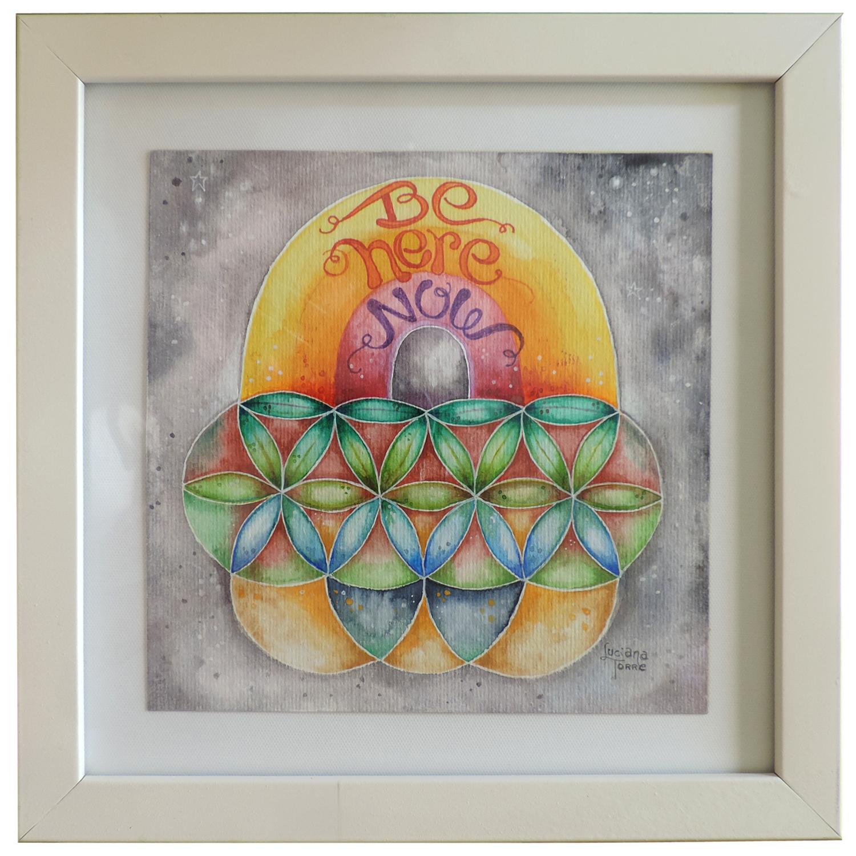 Fiore della Vita e arcobaleno con lettering della artista Luciana Torre. Opera unica dipinta a mano con acquarelli artigianali su carta ecologica