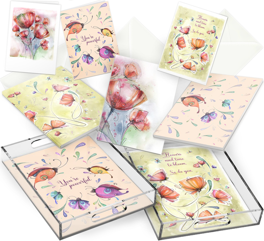 notebooks - stationary cards - greeting cards - acrylic trays designed by artist Luciana Torre ART  *** SHOP: https://society6.com/lucianatorreart/office-stationery