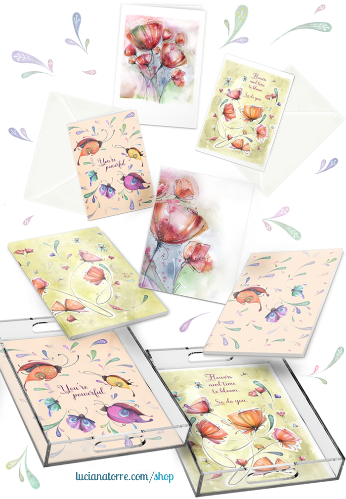 notebooks - stationary cards - acrylic trays designed by artist Luciana Torre - support artist shop: https://society6.com/lucianatorreart/office-stationery - art for products - art for print - art for licensing