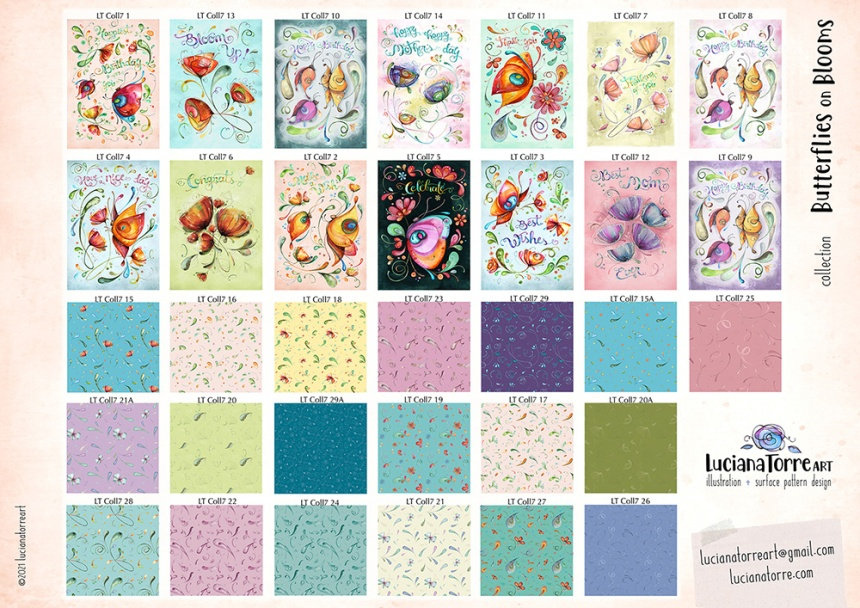 LucianaTorreART greeting cards and patterns licensing collection