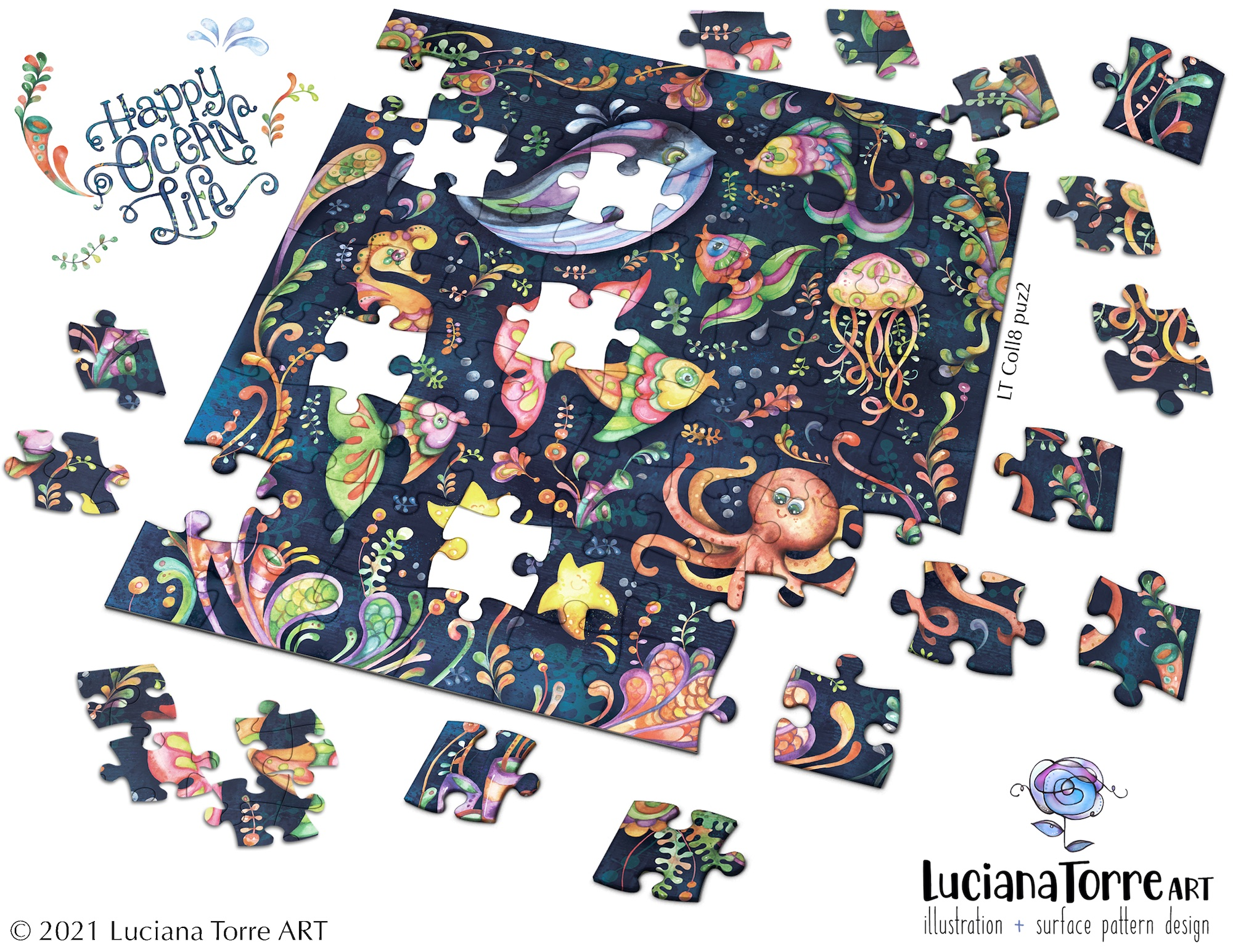 Luciana Torre Art puzzle illustration for licensing