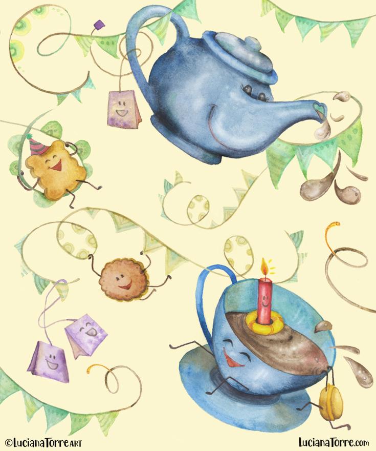Luciana Torre ART tea party illustration